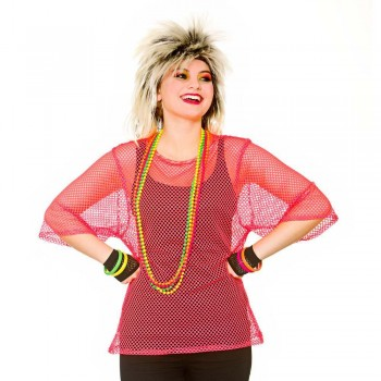 80's Mesh Top - Neon Pink One Size Accessories (1980)