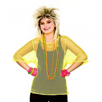 80's Mesh Top - Neon Yellow One Size Accessories (1980)