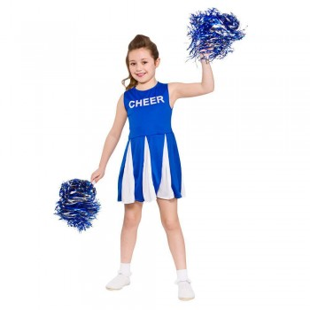Girls Cheerleader  - Blue Fancy Dress Costume