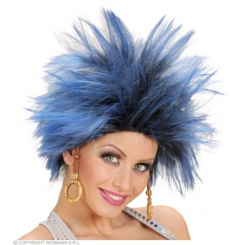 Urban Vibe Wig W/Earrings - Blue/Black - Fancy Dress