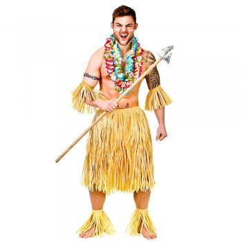 Hawaiian Party Guy 5pc Set/ Authentic Raffia Costume