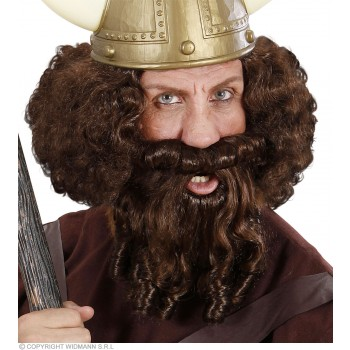 Character Curly Locks Wig & Beard - Brown - Fancy Dress
