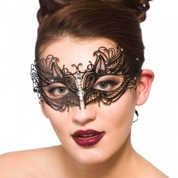 Filigree Eye Mask Decorative - Black w/Diamantes Eyemasks