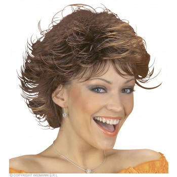 Wet Look Wig Brown - Fancy Dress