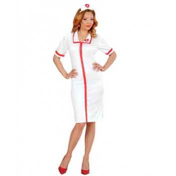 Ladies White Pin Up Nurse Fancy Dress Costume