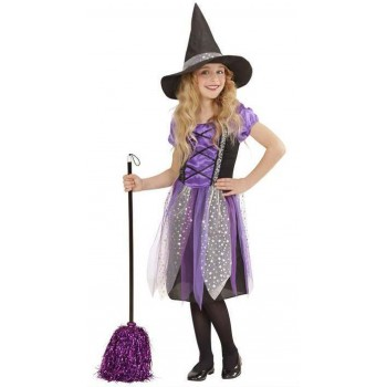 Girls Purple/Black Witch Halloween Fancy Dress Costume