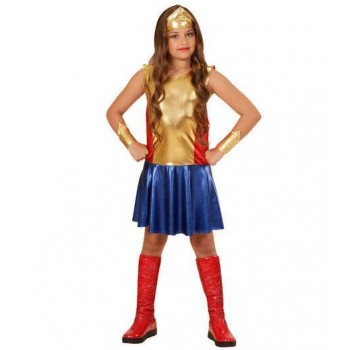Girls Wonder Girl Super Hero Fancy Dress Costume