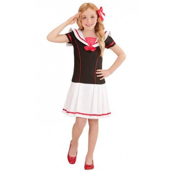 Girls Black Sailor Girl Fancy Dress Costume