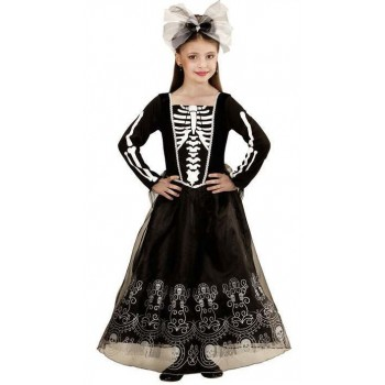 Girls Black Skeletria Skeleton Print Halloween Fancy Dress