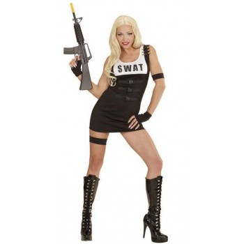 Ladies Black Sexy Swat Girl Fancy Dress Costume