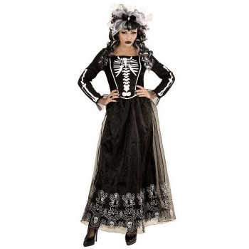 Ladies Black Skeletria Skeleton Print Halloween Fancy Dress