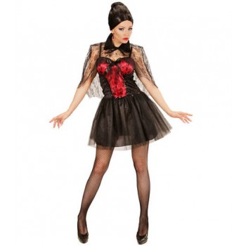 Ladies Black & Red Vampiress Halloween Fancy Dress Costume