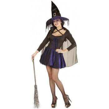 Ladies Black/Purple Glimmer Witch Halloween Fancy Dress Costume