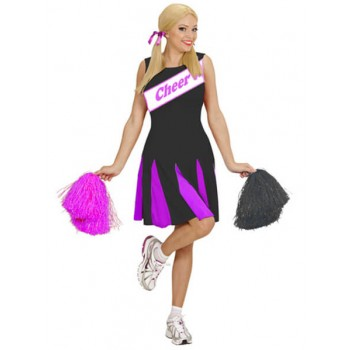 Ladies Black/Pink Sporty Cheerleader Fancy Dress Costume