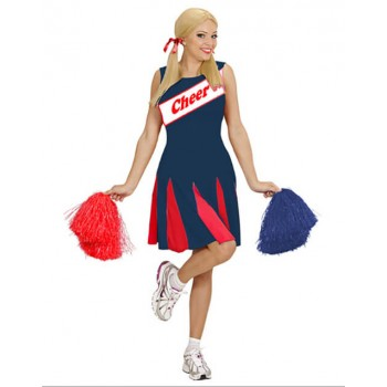 Ladies Blue/Red Sporty Cheerleader Fancy Dress Costume