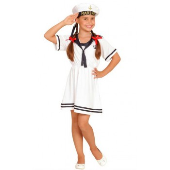 Girls White Sailor Girl Fancy Dress Costume