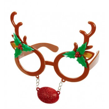 Adult Reindeer Glasses With Attached Nose Christmas Fancy Dress Accessory