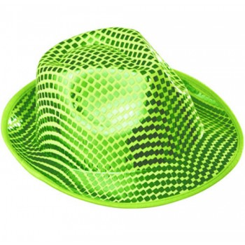 Adult Green Square Sequin Fedora Hat Fancy Dress Accessory