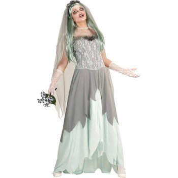 Ladies Grey Zombie Bride Halloween Fancy Dress Costume