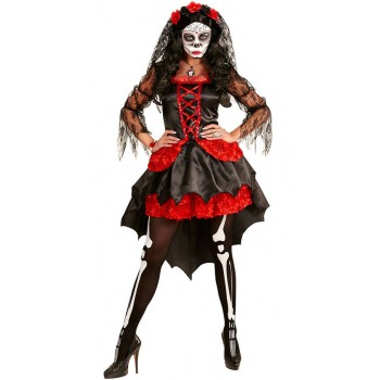Ladies Black/Red Day Of The Dead Bride Halloween Fancy Dress Costume
