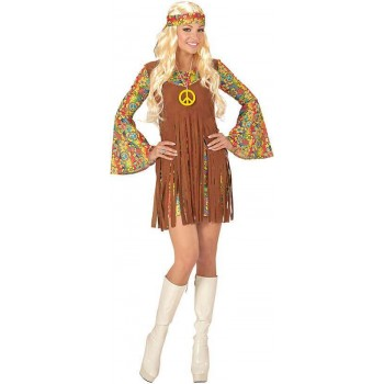 Ladies 60's Hippie Girl Fancy Dress Costume