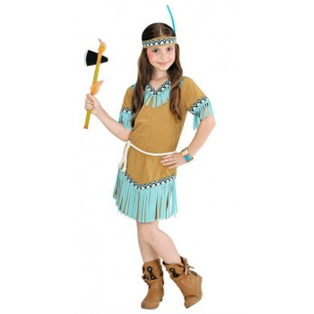 Cute Beige And Blue Native American Girl Fancy Dress Costume