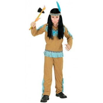 Boys Beige And Blue Native American Fancy Dress Costume