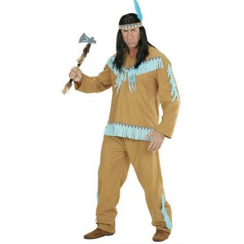 Mens Brown Native American Fancy Dress Costume