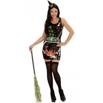 Ladies Black Sequin Witch Party Dress Halloween Fancy Dress