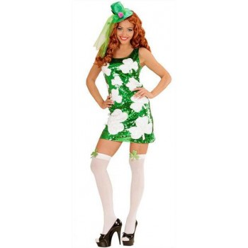 Ladies Green St Patrick Sequin Dress With Shamrock Pattern Fancy Dress Costume