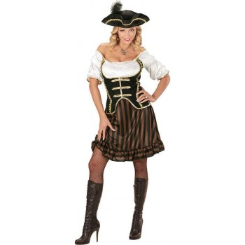 Ladies Black/Brown Pirate Captain Fancy Dress Costume