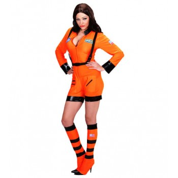 Ladies Orange Space Mission Astronaut Fancy Dress Costume