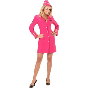 Ladies Pink Airline Hostess Fancy Dress Costume