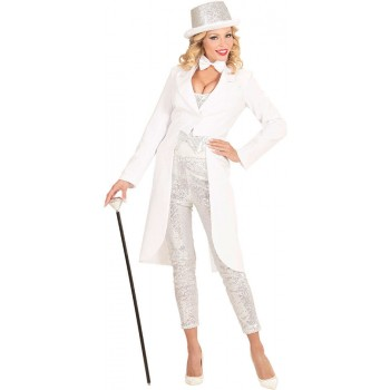 Ladies White Tailcoat Fancy Dress Costume