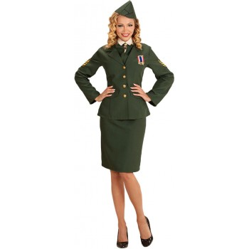 Ladies Green Army Officer Uniform Fancy Dress Costume