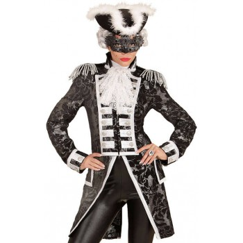 Ladies Silver Jacquard Parade Tailcoat Fancy Dress Costume
