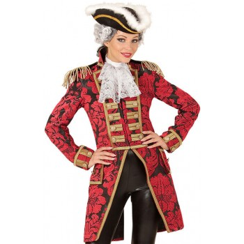 Ladies Red Jacquard Parade Tailcoat Fancy Dress Costume