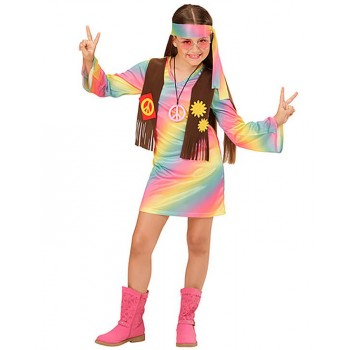 Girls 60's Funky Hippy Girl Fancy Dress Costume