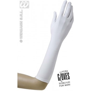 Gloves Lycra 37Cm - White - Fancy Dress