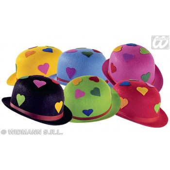 Bowler Felt Heart 6 Cols Asstd - Fancy Dress