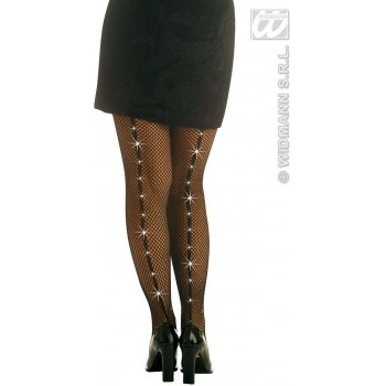 Fishnet Pantyhose Blk W/Rhinestones - Fancy Dress