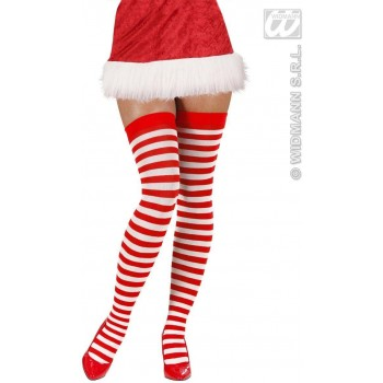 Xl Striped Over Knee Socks 70 White - Red - Fancy Dress (Christmas)