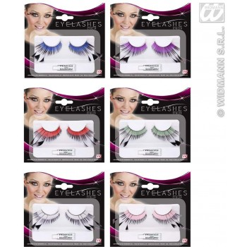 Eyelashes Color Base & Black Tip Feathers Fancy Dress