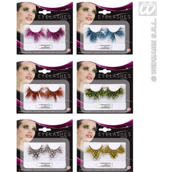 Eyelashes Dotted Feathers 6 Cols - Fancy Dress