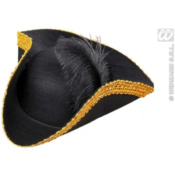 Tricorn Felt W/ Feather & Tinsel Trim - Fancy Dress