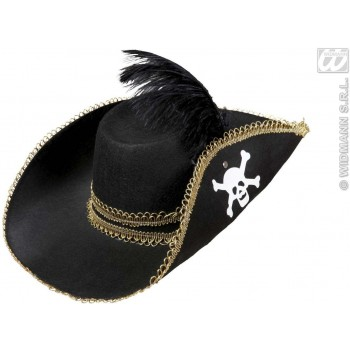 Pirate Hat Felt With Skull & Feather - Fancy Dress (Pirates)