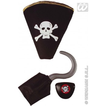 Pirate Set Hook Hat Eyepatch - Fancy Dress (Pirates)