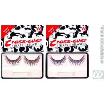 Eyelashes Black Cross Over W/Col Strass - Fancy Dress