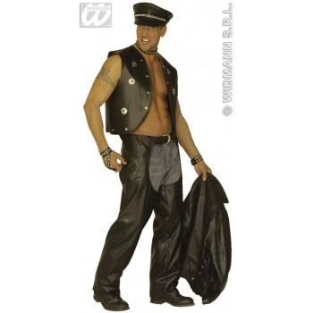 Biker Chaps Black Fancy Dress Costume