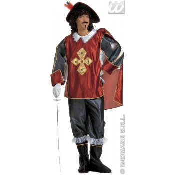 Musketeer Adult Red/Blk Fancy Dress Costume Mens